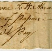 Image of RECEIPT, N. ABRAHAM TO JOHN ORNE, POSTAGE OF PAPERS - HANDWRITTEN RECEIPT.