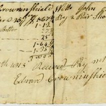 Image of RECEIPT, EDWARD CROWNINSHIELD TO JOHN ORNE FOR BUTTER. PAID FOR WITH 2 PR. SHOES. - HANDWRITTEN RECEIPT.