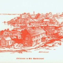 """Image of CARD, (CHRISTMAS) """"CHRISTMAS IN OLD MARBLEHEAD"""", """"BARNEGAT"""" - SIDE FOLDED CHRISTMAS CARD.  CREAM PAPER WITH DRAWING IN DARK RED INK ON COVER.  IMAGE IS A DRAWING BY MARIAN MARTIN BROWN OF A SECTION OF ORNE ST. AS SEEN FROM BURIAL HILL WITH FORT SEWALL & MARBLEHEAD NECK IN THE BACKGROUND.  INSIDE GREETING & NAME OF FAMILY SENDING CARD ARE PRE PRINTED."""