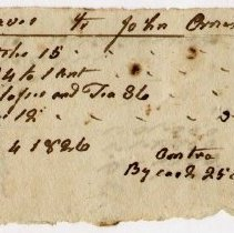 Image of RECEIPT, JOHN GRAVES TO JOHN ORNE FOR SUNDRIES - HANDWRITTEN RECEIPT.