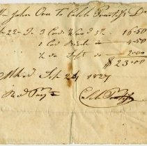 Image of RECEIPT, CALEB PRENTISS TO JOHN ORNE, CORD WOOD & SALT - HANDWRITTEN RECEIPT.