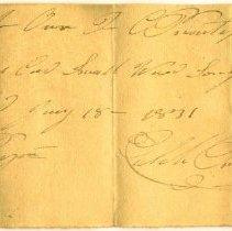 Image of RECEIPT, CALEB PRENTISS TO JOHN ORNE, CORD SMALL WOOD FOR SON JOHN - HANDWRITTEN RECEIPT.