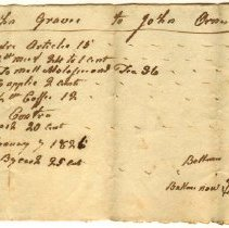 Image of INVOICE, JOHN ORNE TO JOHN GRAVES FOR SUNDRIES - HANDWRITTEN INVOICE.