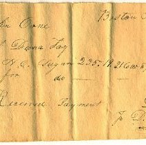 Image of RECEIPT, DANA FAY TO JOHN ORNE, SUGAR, PAYMENT RECEIVED BY D. METTINGTON - HANDWRITTEN RECEIPT.