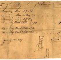 Image of ACCOUNT, SETTLEMENT FROM JOHN ORNE & LENAS STODDARD TO JOHN WALPY FOR SHOE REPAIRS - HANDWRITTEN ACCOUNT SETTLEMENT.