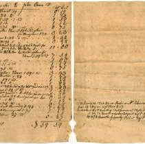 Image of ACCOUNT, THOMAS ELKINS SON,  SHOES, BOOTS & REPAIRS BY JOHN  ORNE.  $59.50.  CONTRA: ORDER ON EBEN GRAVES SON, CALF SKIN, QUINTALS OF FISH.  $66.87. - HANDWRITTEN ACCOUNTING.