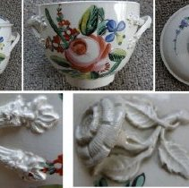 """Image of BOWL, (SUGAR) & COVER - """"ENGLISH CREAMWARE SUGAR BOWL W/COVER.  RIBBED INTERTWINED �HANDLES & FOLIATED TERMINALS.  FLOWER & LEAF FINIAL ON LID.  �DECORATION OF OVERGLAZE ENAMELS OF FLORALS."""""""