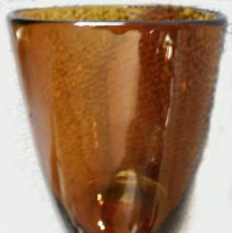 Image of GLASS, (DRINKING) AMBER - AMBER BLOWN DRINKING GLASS WITH PONTIL MARK ON BOTTOM
