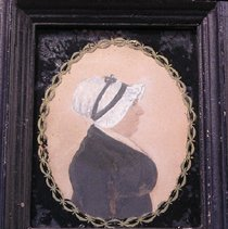 """Image of PORTRAIT, MRS. NATHAN (MARY) BOWEN - SMALL PAINTING WHICH DEPICTS AN OLDER WOMAN IN A WHITE BONNET, WEARING A BLACK DRESS. BACKGROUND IS PLAIN.  NOTE ON BACK READS, """"MRS. MARY BOWEN, PROBABLY MARY MELZARD"""""""