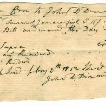 Image of RECEIPT, JOHN DENNIS TO JOHN ORNE FOR SUMMER JAMAICA FISH - HANDWRITTEN RECEIPT.