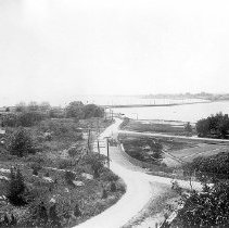 Image of PHOTOGRAPH, THE CAUSEWAY FROM A HIGH POINT ON THE NECK - GRAY-TONED MATTE COLLODIAN  PRINT WITH WHITE BORDER; IMAGE OF THE� CAUSEWAY FROM A HIGH POINT ON THE NECK.