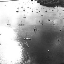 Image of PHOTOGRAPH, AERIAL, MARBLEHEAD HARBOR, ROCKMERE HOTEL AT� TOP - GRAY-TONED GLOSSY PRINT WITH WIDE WHITE BORDER; IMAGE OF �MARBLEHEAD HARBOR FROM THE AIR WITH ROCKMERE HOTEL AT TOP.