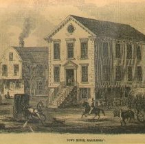 """Image of PHOTOGRAPH, ETCHING, """"TOWN � HOUSE, MARBLEHEAD"""" - GRAY-TONED MATTE PRINT ON SEPIA PAPER; IMAGE OF AN ETCHING BY � UNIDENTIFIED ARTIST ENTITLED """"TOWN HOUSE, MARBLEHEAD""""."""