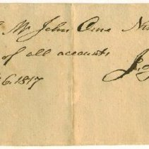 Image of RECEIPT, JOHN ORNE BY J. & J. INGALLS - HANDWRITTEN RECEIPT.