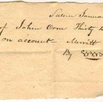 Image of RECEIPT, S. BUTTRICH FOR MERRITT & ASHBY TO JOHN ORNE  - HANDWRITTEN RECEIPT.