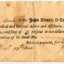Image of RECEIPT, DR. JOHN DRURY TO JOHN ORNE FOR THREE SMALL POX VACCINATIONS - PREPRINTED FORM WITH HANDWRITTEN ENTRIES.