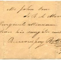Image of RECEIPT, R. MERRIAM TO JOHN ORNE FOR SURGICAL ATTENDANCE ON DAUGHTER'S ANKLE. - HANDWRITTEN RECEIPT.