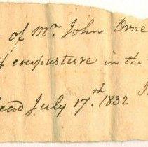 Image of RECEIPT, J. SPARHAWK TO JOHN ORNE FOR SUMMER PASTURE RENT - HANDWRITTEN RECEIPT.