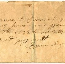 Image of RECEIPT, EVANS & GRAVES TO JOHN ORNE FOR SHOEING HORSE FOR ONE YEAR - HANDWRITTEN RECEIPT.
