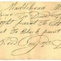 Image of RECEIPT, DAVID FLINT TO JOHN ORNE FOR PAINT & OIL - HANDWRITTEN RECEIPT.
