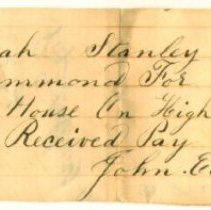 Image of RECEIPT, JOHN HAMMOND TO HANNAH STANLEY (DAUGHTER OF J. ORNE) FOR WORK ON HOUSE  - HANDWRITTEN RECEIPT.