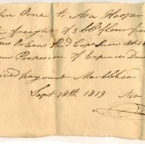 Image of RECEIPT, ASA HOOPER TO JOHN ORNE, FREIGHT ON 3 BARRELS OF FLOUR FROM NEW ORLEANS - HANDWRITTEN RECEIPT.