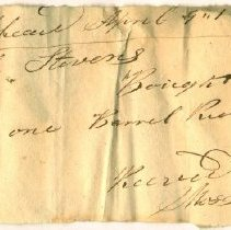 Image of RECEIPT, MOSES HAWKES TO MRS. SARAH STEVENS FOR BARREL RICHMOND FLOUR - HANDWRITTEN RECEIPT.
