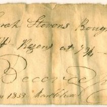 Image of RECEIPT, FROM MOSES HAWKES TO MRS. SARAH STEVENS FOR 10 LB. RASINS - HANDWRITTEN RECEIPT.