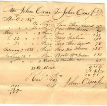Image of RECEIPT, JOHN ORNE TO JOHN ORNE, JR. FOR SHOES & BOOTS - HANDWRITTEN RECEIPT.