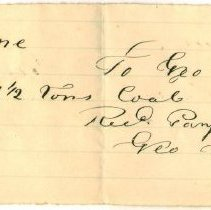 Image of RECEIPT, GEORGE PITMAN TO AZOR ORNE FOR 1.5 TONS COAL - HANDWRITTEN RECEIPT.