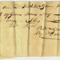 Image of RECEIPT, PORTER & GREEN TO JOHN ORNE,109 GALLONS MOLASSES & WOOD FOR J. ORNE, JR. PAYMENT RECEIVED BY P. CLOUTMAN - HANDWRITTEN RECEIPT.