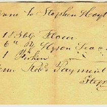 Image of RECEIPT, STEPHEN HOYT TO JOHN ORNE, BBL. FLOUR, TEA & GIRKEN - HANDWRITTEN RECEIPT.