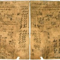 Image of INVOICE, WIDOW JANE NUTTING FROM JOHN ORNE FOR BOOTS, SHOES & REPAIRS.  MOST PAYMENTS IN FISH. - HANDWRITTEN INVOICE.  PAYMENTS LISTED ON BACK.  MAJORITY OF PAYMENTS IN FISH.