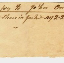 Image of INVOICE, WILLIAM TREFRY FROM JOHN ORNE FOR PUTTING NEW SLEEVES IN JACKET - HANDWRITTEN INVOICE.