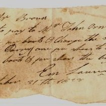 Image of LETTER, MR. BROWN TO PAY JOHN ORNE FOR 2 PR. BOOTS & 2 PR. SHOES FROM E. LAURING - HANDWRITTEN LETTER.  INSTRUCTIONS TO CHARGE PR. BOOTS TO GEORGE RAMSEY & PR. SHOES TO MR BALL.