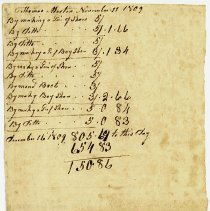 Image of ACCOUNT, CORDWAINING WORK DONE BY THOMAS MARTIN FOR JOHN ORNE FOR MONTH - HANDWRITTEN ACCOUNTING.