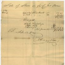 Image of RECEIPT, SALES OF 1156 PR. CHILDREN'S BOOTS FOR ACCOUNT OF JOHN ORNE - HANDWRITTEN RECEIPT FOR SALES OF 1156 PR. CHILDREN'S BOOTS @.15 & @.135 FOR ACCOUNT OF JOHN ORNE.  SALES THROUGH NESTOR HOUGHTON.  EXPENSES $10.94.  NET TO ORNE $156.46.  RECEIPT BY N. HOUGHTON.