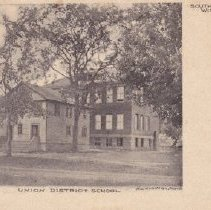 Image of Postcard of Union School being built