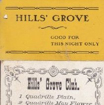 Image of Hills' Grove dance card, front side