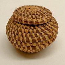 Image of Native American Baskets - Lidded Coiled Basket
