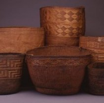 "Image of Native American Baskets - Gathering Basket with ""Shaman's Hat"" Pattern"
