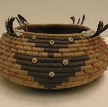 Image of Native American Baskets - Partly Feathered Round Jewel Basket