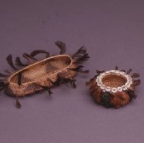 Image of Native American Baskets - Partly Feathered Miniature Canoe-Shaped Bowl