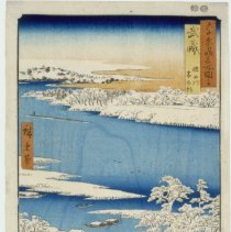 Image of Japanese Prints - Musashi: Sumidagawa Yuki no Asa (View #16: Snowy Morning on the Sumida River in Musashi Province)