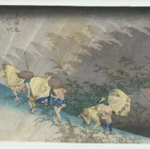 Image of Japanese Prints - Station #46: Shono, Travelers Ascending and Descending a Hill in a Heavy Downpour of Rain