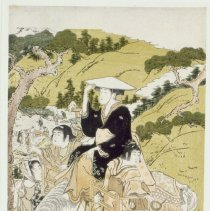 Image of Japanese Prints - Fair pilgrims visiting the Shinto shrines at Ise