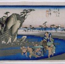 Image of Japanese Prints - Okitsu Okitsugawa (Station #18: Okitsu, Two fat wrestlers)