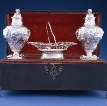Image of British Georgian Silver - George III Tea Caddies (2) and Sweetmeat Basket