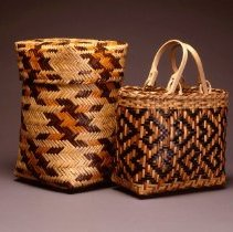 Image of Native American Baskets - Double-Weave Storage Basket with Lid