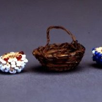 Image of Native American Baskets - Miniature Beaded Oval Bowl